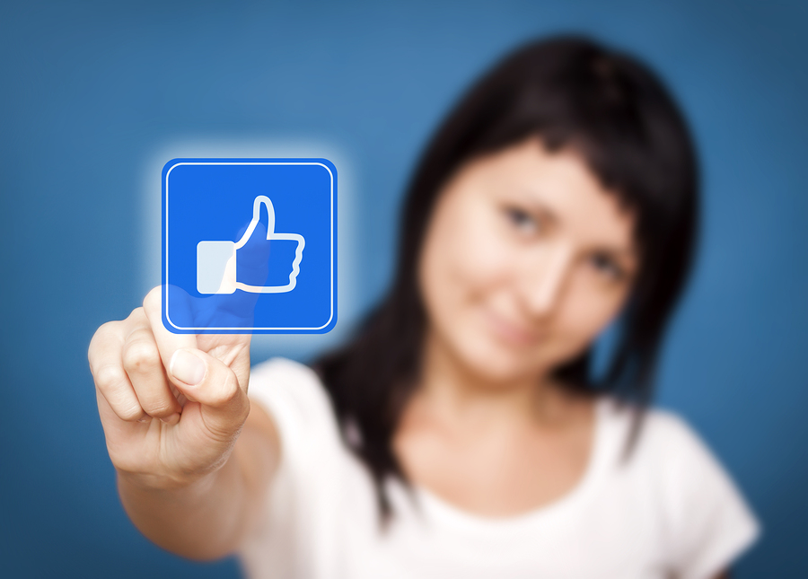 Woman Clicking Like Button. She Likes It!