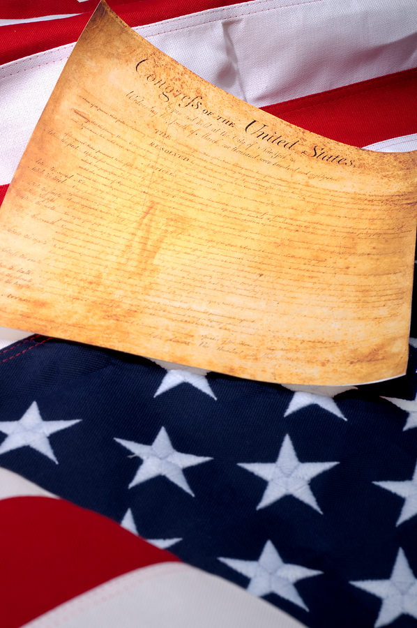 Vertical Image Of The The First Page Of The Us Bill Or Rights On