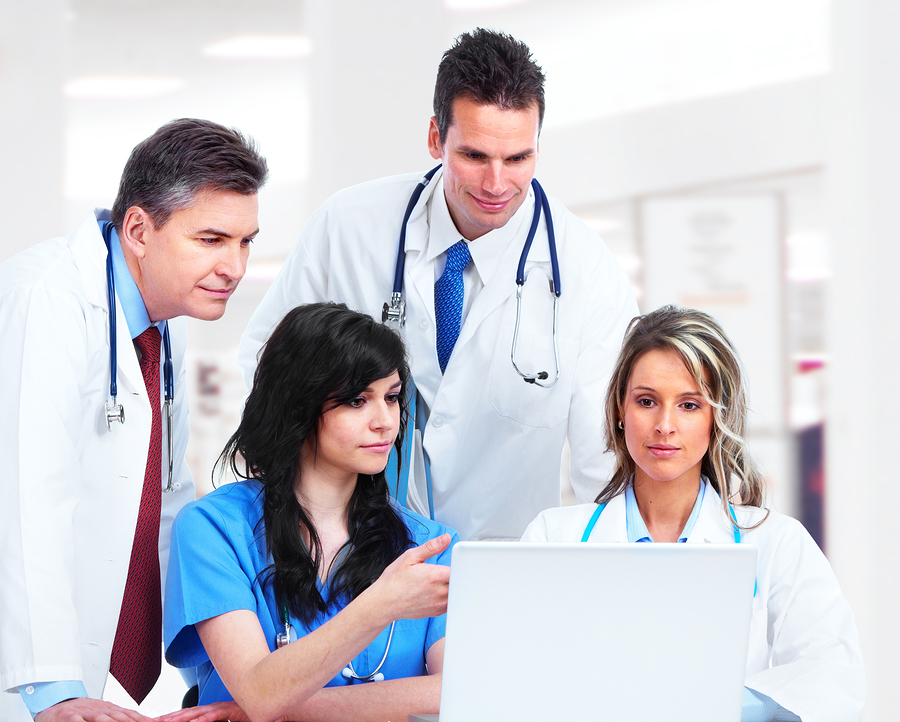 Medical doctors group at the hospital.