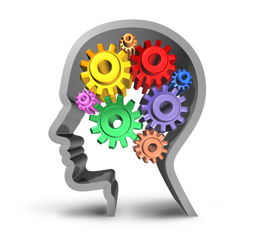 intelligence brain function gears cogs in motion neurology mental health medical symbol mind isolated
