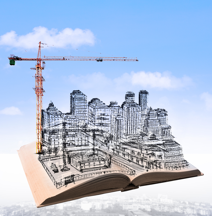 sketching of building construction on flying book over urban scene use for civil engineering and land development topic